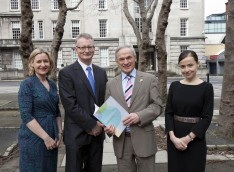 Pictured at the launch of the National Plan on Coporate Social Responsibility (L-R) Martina Quinn, DHR Communicatios, Ian Talbot, Chief Executive, Chambers Ireland, Minister for Jobs, Enterprise and Innovation, Richard Bruton TD and Catherine Heaney, Managing Director, DHR Communications