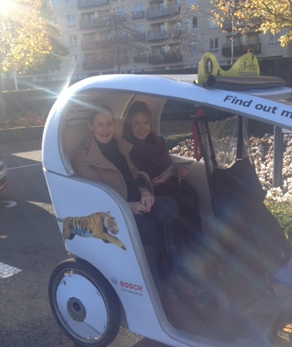 Martina and Emily were so tired after lunch, they had to get an eco-cab back to the main venue!