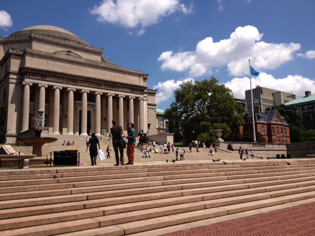 The Grand Library at Columbia University.  Catherine's school is the red building on the right-hand side of the picture.