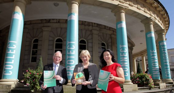 NO REPRO FEE 8/9/2016 Pictured today at the launch of the National Library of Ireland's 2015 Annual Review and 2016-2021 Strategy are Heather Humphreys TD (centre), Minister for Arts, Heritage and the Gaeltacht, Dr Sandra Collins, Director of the National Library of Ireland, and Paul Shovlin, Chairman of the National Library of Ireland Board. The review document summarises key indicators of the Library's performance during 2015. Highlights include almost a quarter of a million visitors to the NLI and 2.1 million interactions online. The 2016-2021 strategy sets out the Library's plans and goals for the next five years as it builds on its digitisation programme and web archiving work. Further information on the National Library of Ireland is available at www.nli.ie. Photo: Mark Stedman