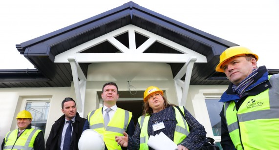 John Lyons TD, Minister for the Environment, Community and Local Government Alan Kelly TD and Tina Donaghy, head of housing&Development at Fold Ireland pictured at the housing association Fold Ireland's innovative social housing project to provide homes for older people in North Dublin .