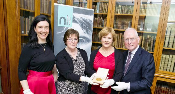 28/4/16 ***NO REPRO FEE*** Pictured today at a special event in The National Library of Ireland to mark the receipt of the medal awarded to W.B. Yeats for winning the Nobel Prize in Literature in 1923 were Dr Sandra Collins Director of the National Library of Ireland , Granddaughters  Catriona and Siobhan Yates and Paul Shovlin Chair of the National Library of Ireland Board. Pic: Marc O'Sullivan