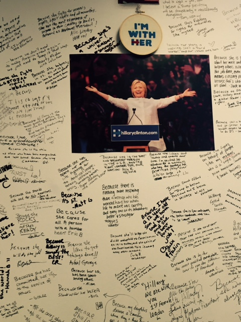 Messages of support from Hillary's campaign workers
