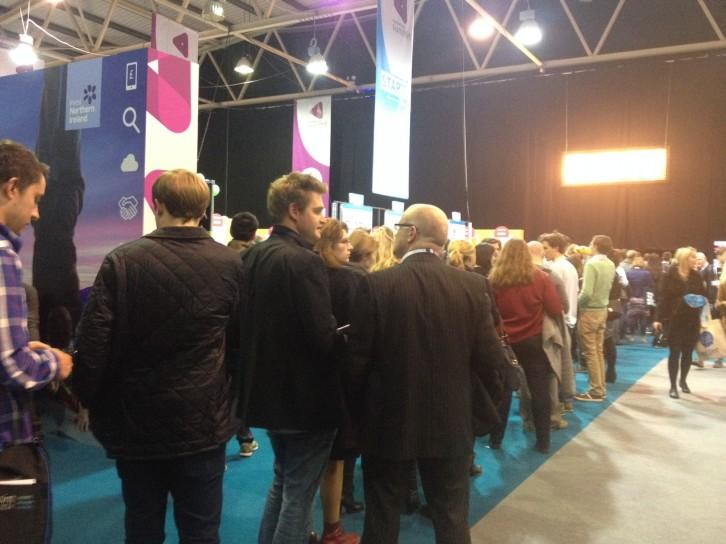Delegates queuing to enter Marketing Summit
