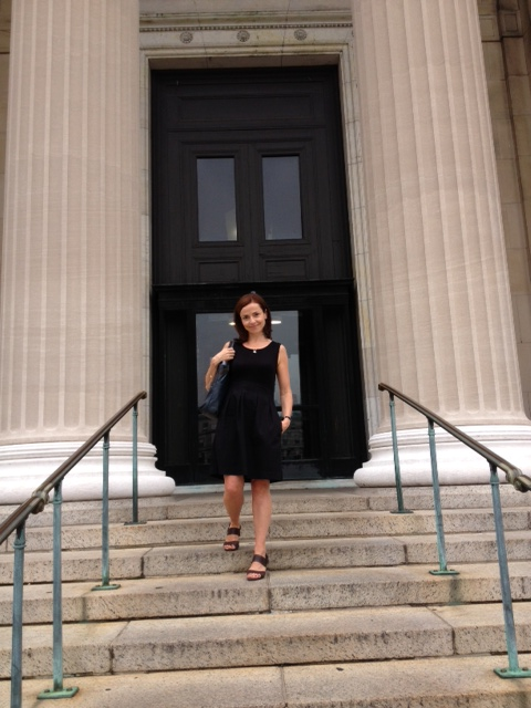Catherine Heaney, pictured on the steps of Columbia University